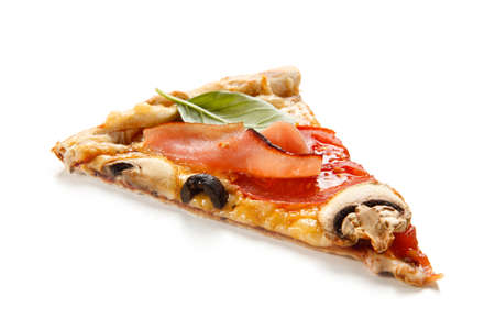 Slice of pizza with ham, mozzarella, champignon and vegetables on white background