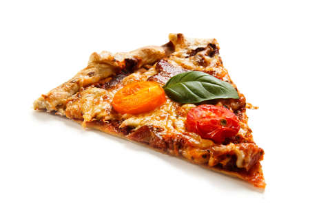 Sliced pizza with bacon, mozzarella and vegetables on white background
