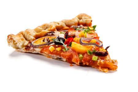 Slice of pizza with ham, mozzarella, champignon and corn on white background