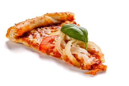 Pizza with ham, mozzarella, champignon, tomatoes and onion on white background