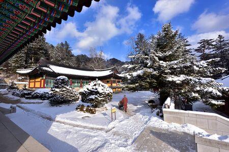 temple korea, traditional buddhist temple of korea a winter Stock Photo