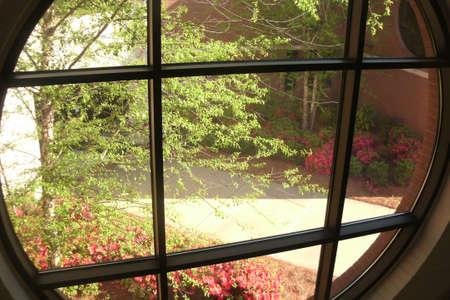 여름 단풍의 계단 창에서 봅니다. 스톡 콘텐츠