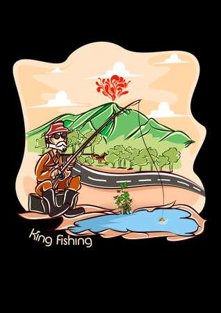king fishing  black bg