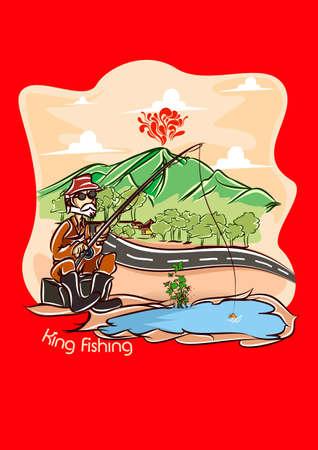 king fishing  red bg  Reklamní fotografie