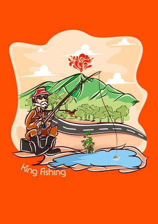 king fishing  orange bg