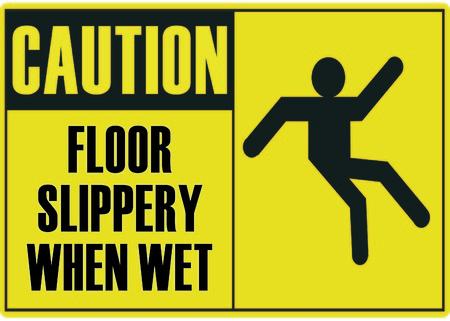 wet floor caution sign: Piso resbaladizo cuando est� mojado Vectores