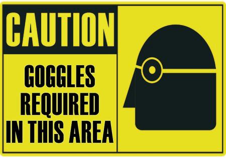 Vorsicht-Sicherheitszeichen Brille, die in diesem Bereich erforderlich  Vektorgrafik