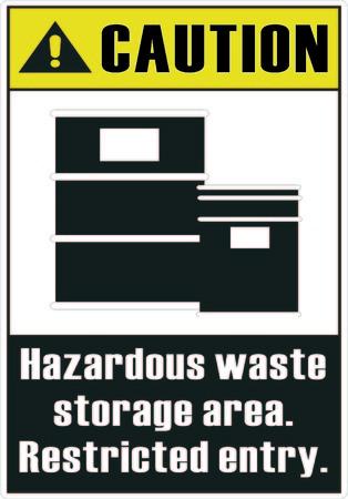 hazardous area sign: Los residuos peligrosos de �rea de almacenamiento Vectores