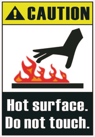 hot surface: Hot surface. Do not touch Illustration