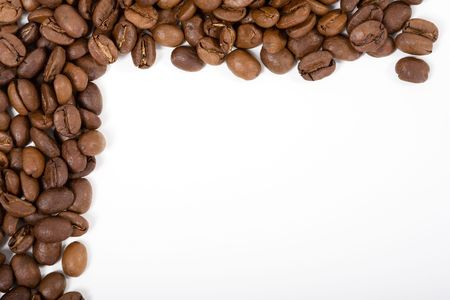 coffeebeans: Frame made out of coffeebeans. White background, but not isolated.