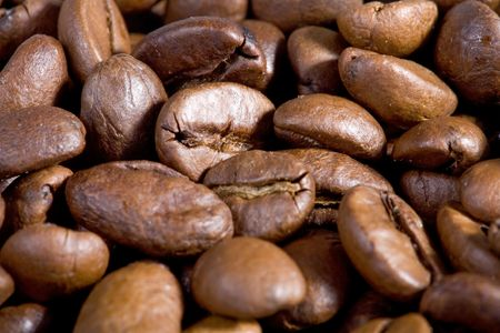 coffeebeans: Good smelling Coffeebeans close-up. Stock Photo
