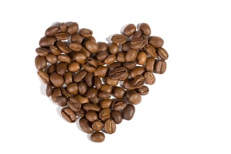 coffeebeans: A heart made of coffeebeans. With shadows, isolated on white.