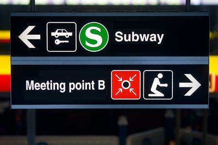 Information-Board at an airport. Subway, Meeting Point, ...