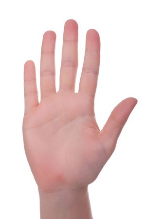 Handsign - Just the whole hand. Inner side. Isolated on white.