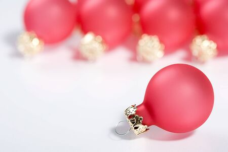Bunch of red Christmas Balls. Great as greeting card!