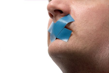 Censored Man with blue tape on his mouth. Isolated on white.