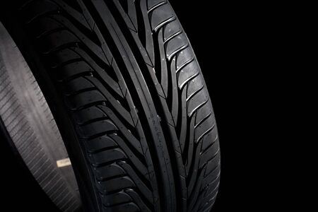 pneu: Summer tire (22545R17) on black background. Its a new one.