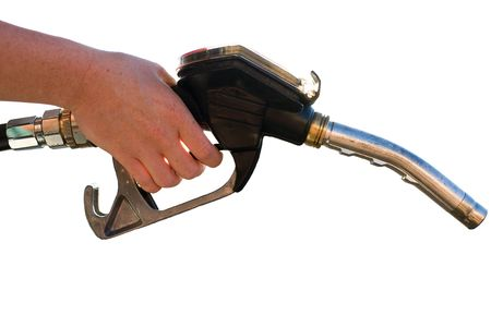 Close-up of a hand using a worn petrol pump to fill his car up with fuel. Isolated on white.