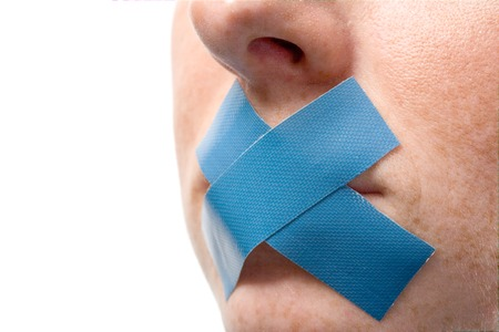 Censored Woman with blue tape on mouth. Isolated on white. Variation.