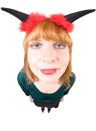 diabolic: Woman with devil horns and red fleece is looking into the cam. Higher viewpoint, taken with a Fisheye. Isolated on white. Stock Photo