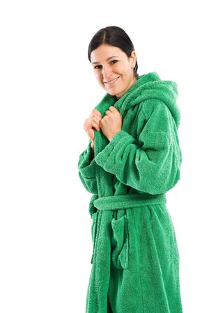 bath robe: Nice woman in green bath robe