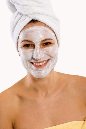 facemask: Portrait of woman with towels and Face Mask