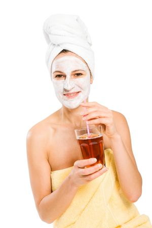 facemask: Woman with Sauna Outfit while drinking something