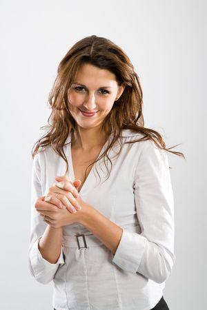agradecimiento: Atractiva mujer sonriente de calor humano a usted.  Foto de archivo