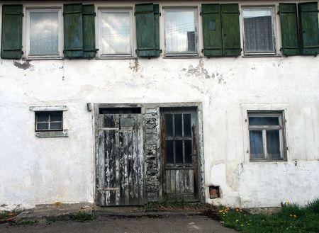 derelict: Exterior of derelict abandoned building.