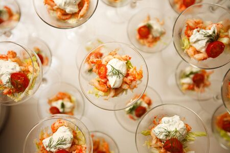 Several cocktail glasses with shrimp salad Stock Photo - 5328326
