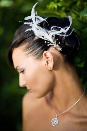debutante: bride looking down Stock Photo