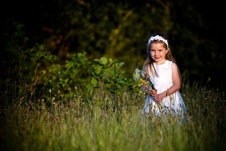 Young girl walking in a meadow with wild flowers Stock Photo - 6263871