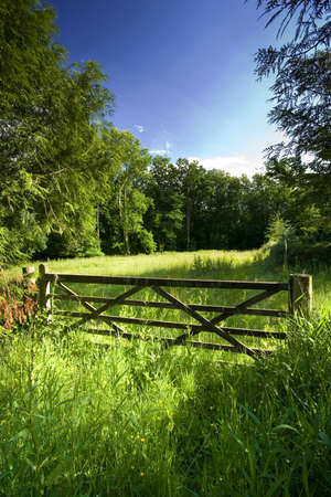 Countryside gate to open field photo