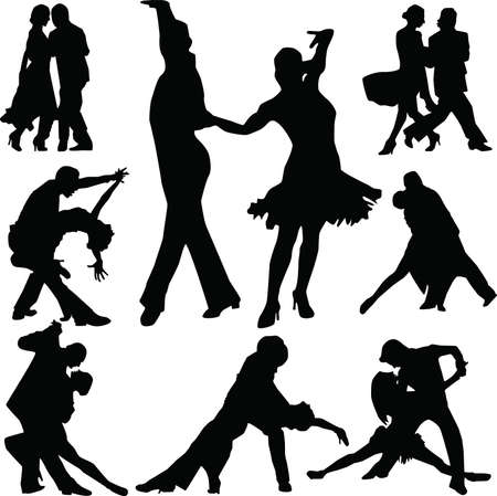 Dance people silhouette  Stock Vector - 5338229