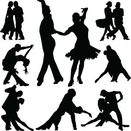 tanieć: Taniec osób sylweta wektorowe Ilustracja