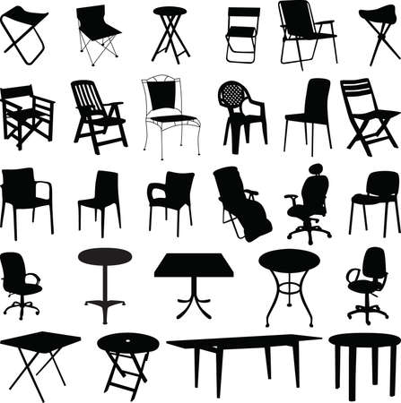 Chair and table silhouette vector 免版税图像 - 5338222