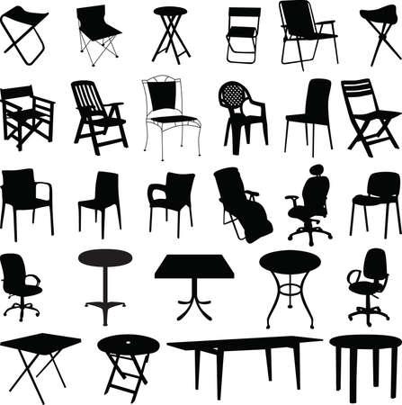 Vector de silueta de silla y mesa