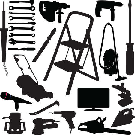 house in hand: Tool silhouette vector Illustration