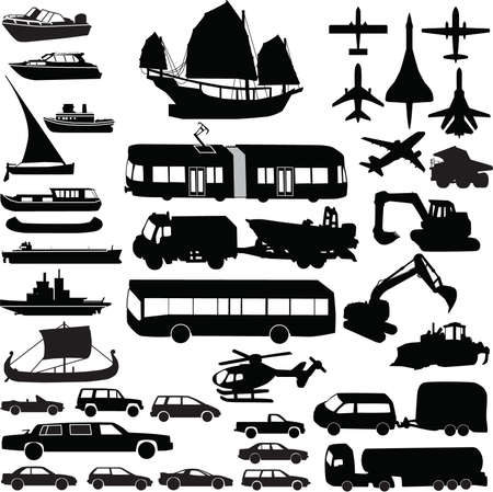 Transportation silhouette vector 矢量图像