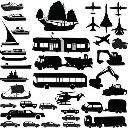 tramway: Trasporto silhouette vector Vettoriali