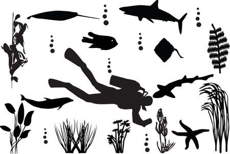 sea seamless with fishes silhouette  Illustration
