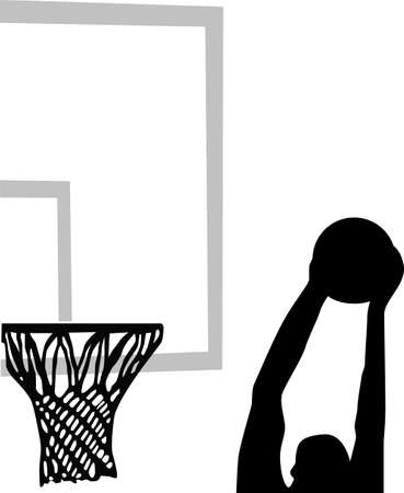 hoops: basketball player silhouette  Illustration