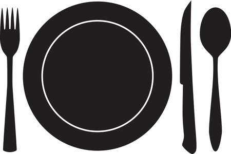 wares: plateful, fork, spoon and knife silhouette