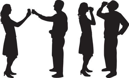 black lady talking: hombre y mujer de silueta de beber