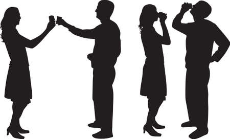 man and woman drinking silhouette