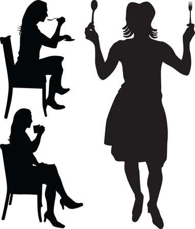 woman eat: mujer comer y beber de silueta