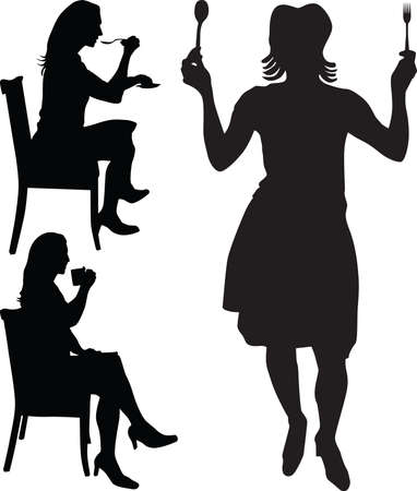 woman eat: woman eat and drink silhouette Illustration