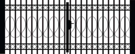 victorian fence: gate silhouette Illustration