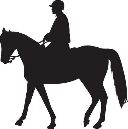 drafje: man op het silhouet van het paard  Stock Illustratie