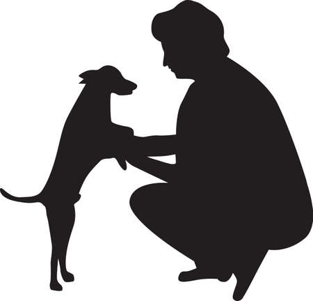 woman and dog silhouette